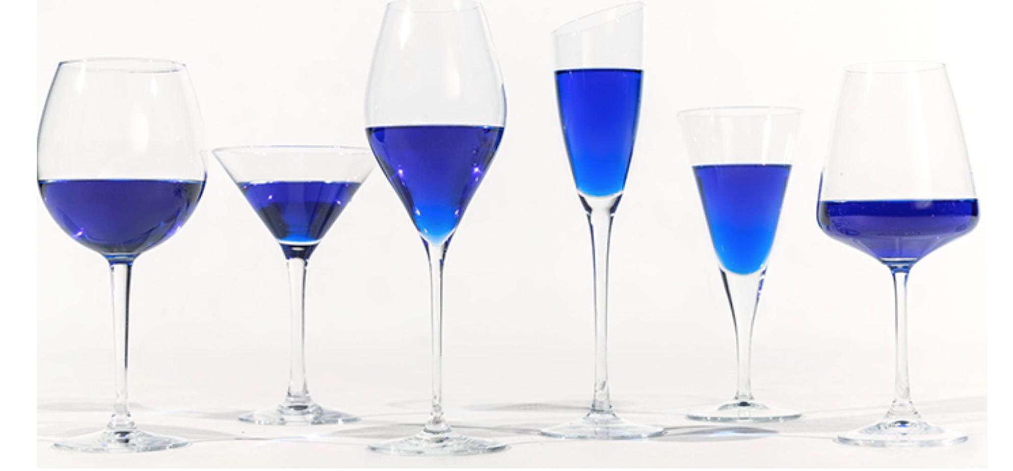Blue prosecco and wine